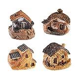 RETYLY Paquete De 4 Hada Miniatura Accesorios De Cabana Casa
