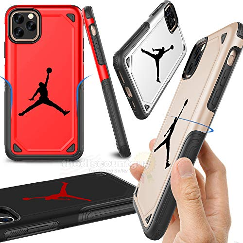 iPhone 11 Pro Max - Shock Resistant Two Layer TPU & PC Jordan Case Full Drop Protection with Slim Thin Design Hard & Soft Dual Air Shell Michael Basketball Cover (Gold)