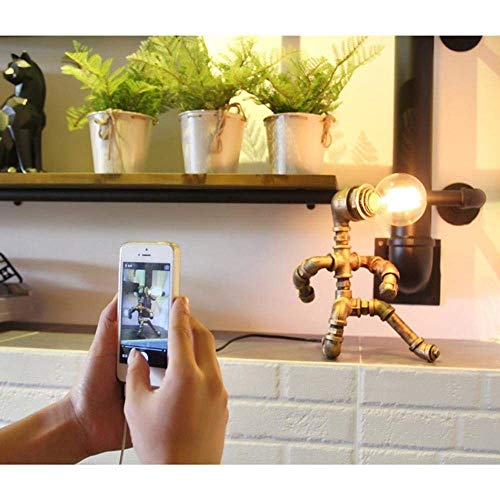 YZYZYZ Lámpara de escritorio con diseño de robot de tubo oxidado creativa, industrial, clásico, vintage, para decoración, cafetería, sala de estar (material: hierro)