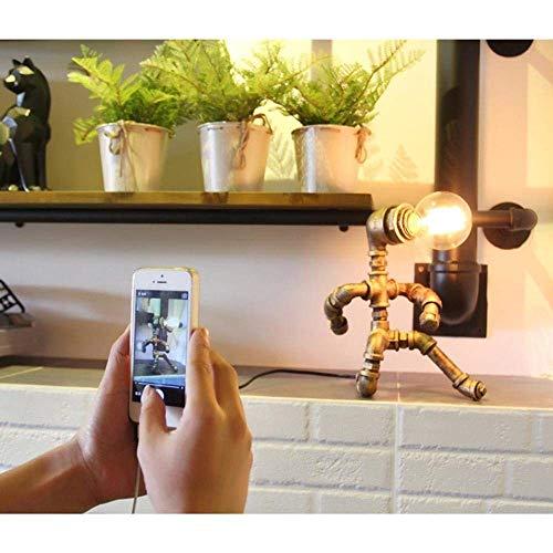 Creativo, Industrial, Clásico, Vintage, Loft Tubo Oxidado Robot Figura Diseñada Lámpara De Escritorio LED Para Decoración, Cafetería, Sala De Estar Yang1mn (Material : Iron)