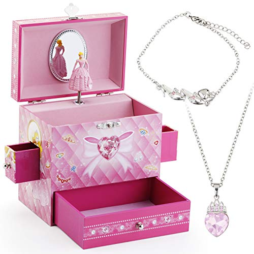 Kids Musical Jewelry Box for Girls with 3 Drawers and Jewelry Set with Cute Princess Theme - Beautiful Dreamer Tune Pink