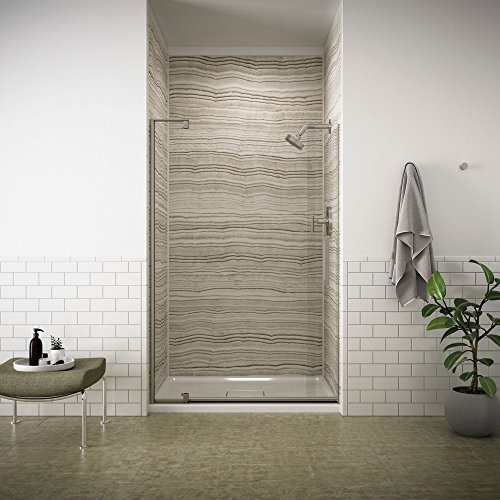 """KOHLER K-707551-L-BNK Revel Pivot Shower Door with 5/16"""" Thick Crystal Clear Glass, 70 x 43-1/8 x 48"""", Anodized Brushed Nickel"""