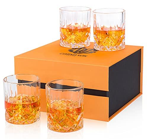 calliva von Bicchieri da Whisky Cristallo, Bicchieri da Whiskey Cristallo Senza Piombo per Cocktail, Martini, Bourbon, Margarita, Squisita Confezione Regalo, 300 ml, Set di 4 Pezzi
