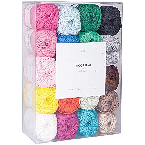 Rico Design 3137123 Fil à crochet et à tricoter, coton, multicolore, large