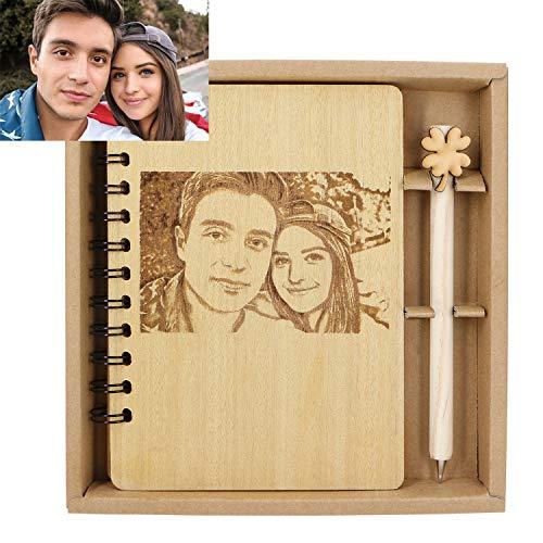 Personalisierbares Foto-Notizbuch, personalisiertes Luxus-Holz-Tagebuch mit Gravur aus recyceltem Holz