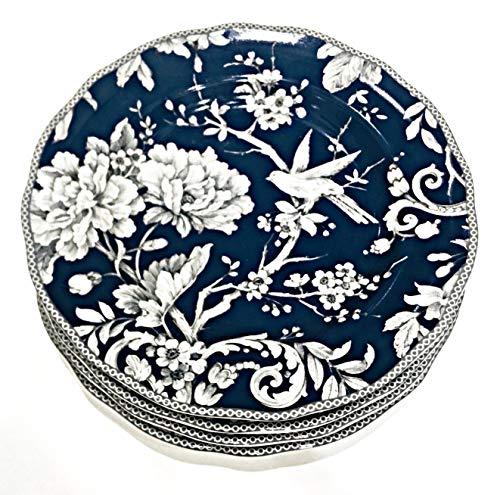 222 Fifth Adelaide Dark Blue Toile Dinner Plates   Fine China / Porcelain   Set of 4