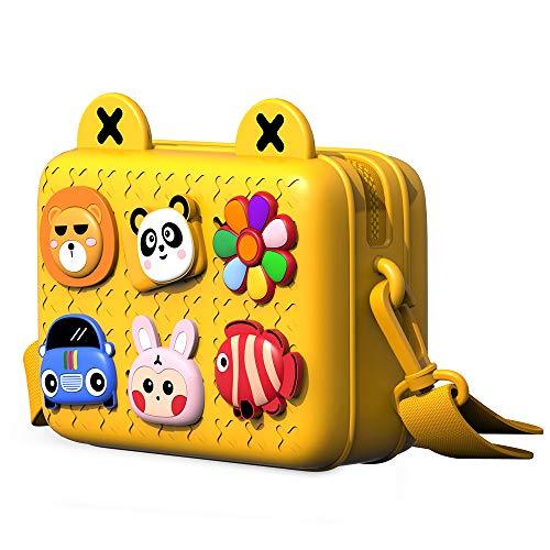Richgv Kids Crossbody Bag, Leichte Umhängetasche, Geldbörse Easy Clean Süße Kleinkind-Geldbörse mit DIY-Cartoon-Schnallen, Geburtstagsgeschenke für Jungen Mädchen von 2-8 Jahren(Gelb)