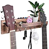 Double Guitar Wall Hangers, Wooden Guitar Wall Mount with Storage Shelf and Hooks, Guitar Holder Bracket Rack for Ukulele/Electric Guitar/Bass Guitar/Guitar Accessories (brown)