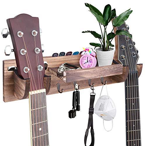 Colgador de pared para guitarra doble, soporte de pared para guitarra de madera con estante de almacenamiento y ganchos, soporte para guitarra, soporte para ukelele/accesorios de guitarra (mar