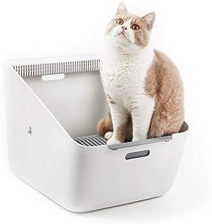 猫用トイレ本体 大きい猫のための自動クリーニング式猫のトイレ箱の自動ペット塀のトイレ砂の鍋 適当な容量、快適に使える (色 : 白, サイズ : 507*374*350mm)