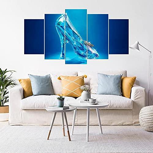 IJNHY 5 Piezas Pintura sobre Lienzo Moderna Zapatilla de Cristal de Dibujos Animados Impresión del Hogar Sala Estar Dormitorio Cuadro sobre Lienzo Listo para Colgar 150 * 80Cm con Marco