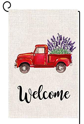 ORTIGIA Home Decorative Welcome Red Truck Small Garden Flag Lavender Flower Double Sided Quote,Farmhouse House Burlap Yard Decoration, Seasonal Outdoor Décor Flag 12.5 x 18 Spring Summer