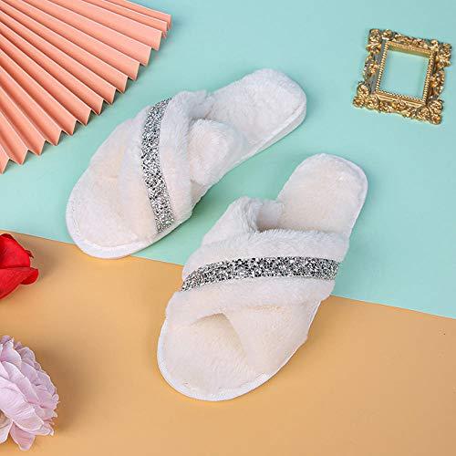 YANSHOU Flache Boden Mode Baumwolle Hausschuhe, Home Indoor rutschfeste Hausschuhe-Beige_38-39