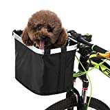 Lixada Bike Basket Folding Small Pet Cat Dog Carrier Front Removable Bicycle Handlebar Basket Quick Release Easy Install Detachable Cycling Bag Mountain Picnic Shopping