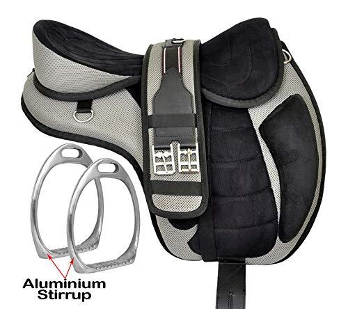 Gry-negro Pony sin árboles sintético Freemax inglés caballo silla de montar con estribos y circunferencia a juego