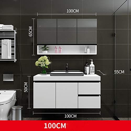 SNOLEK Massivholz Badezimmerschrank Kombination modernen minimalistischen 100 cm + Spiegelschrank 100