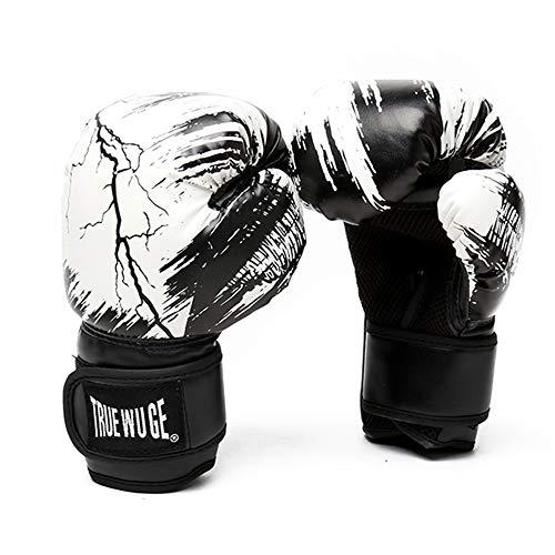 Guantes de Entrenamiento de Boxeo 6oz 8oz 10oz 12oz 14oz Guantes de Combate de Cuero PU con Forro Impermeable Malla Transpirable,White,8oz