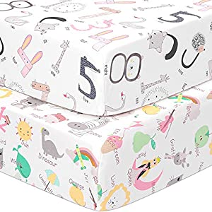 """crib bedding and baby bedding tillyou 2-pack snug fit microfiber fitted crib sheet set for baby boys girls, silky-soft hypoallergenic and breathable mattress cover for standard toddler bed, 28""""x52""""x8"""", numbers & letters"""
