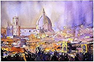 Watercolor of the historic Duomo and cityscape of Florence from the Palazzo di Michelangelo- Florence, Italy (print)
