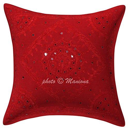 Funda de cojín de algodón Abstracto Bordado, Cuadrada, étnica, para sofá o Almohada