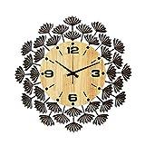 FOLA Reloj de Pared de Metal Reloj de Cuarzo Reloj Moderno Reloj silencioso en Silencio 18 en Reloj de Pared Decorativo fácil de Leer el Reloj (Color : Black)