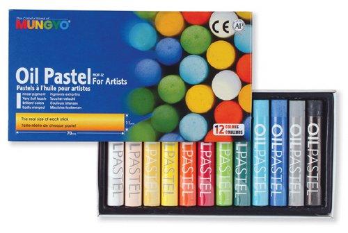 MUNGYO Set de 12 Pastels à huile couleurs 11 x 70 mm Assorties