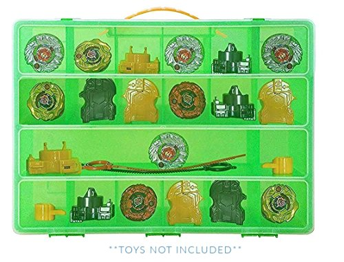 Life Made Better Beyblade Green Case, Battle Box For Kids, Compatible With Beyblades, 17 Compartment Playset Organizer (Green)