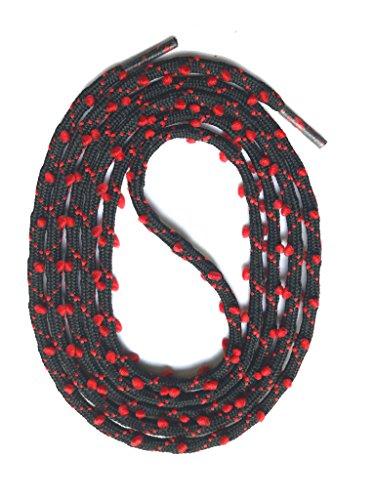 SNORS - Schnürsenkel rund - RUNDSENKEL Schwarz/Rot 130cm, ca. 3mm, eingewebte Öhrchen
