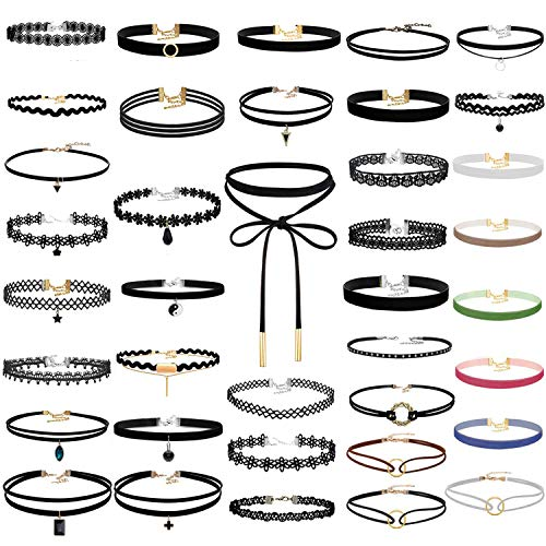 Paxcoo 50Pcs Black Choker Necklaces Set for Teen Girls and Women