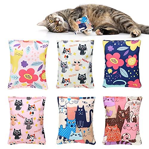 BINGPET Katzenminzen Spielzeug für Hauskatzen - 6er Pack Interaktives Katzenkickerspielzeug mit niedlichen Mustern, innen gefüllte natürliche Katzenminze, haltbare Kicksticks für Katzen