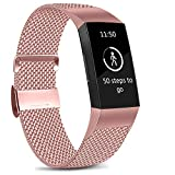 Amzpas Correa para Fitbit Charge 3 y Fitbit Charge 4, de malla, ajustable, de acero inoxidable, con cierre magnético único, color 02 Rosa
