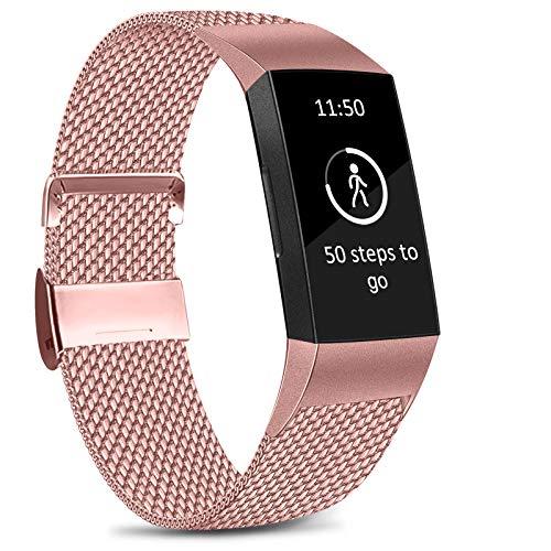 Amzpas Kompatible Für Fitbit Charge 3 Armband/Fitbit Charge 4 Armband, Metall Edelstahl Ersatzarmband Kompatibel mit Fitbit Charge 3/ Charge 4 (S, 04 Rosa)