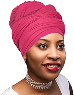 30 Colors| Novarena 1-4 Pc Solid Color Head Wrap Stretch Long Hair Scarf Turban Tie Kente African Hat Jersey Knit Headwrap