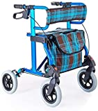 Andador para Ancianos Andador Compacto con Asiento, Elevador Compacto Simple con Ruedas y Bolsa Auxiliar Andador con Ruedas abatible y Regulable en Altura