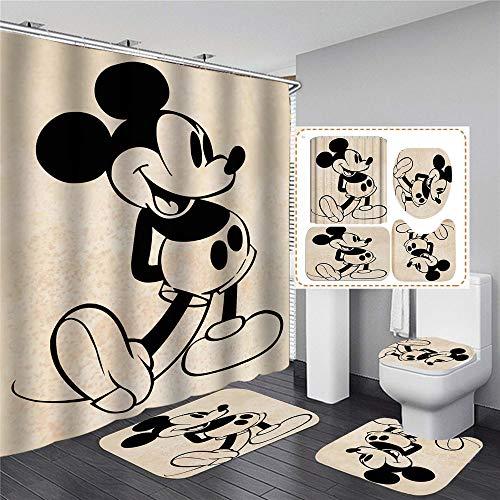 xingy&eshoop Duschvorhang-Cartoon Mickey Mouse Wasserdichtes Waschbares Bad Polyester Stoff-Badmatte-Vierteiler Anzug 90 (B) X180 (H) cm