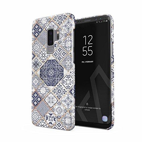 BURGA Hülle Kompatibel mit Samsung Galaxy S9 Plus - Handy Huelle Licht Blau Weiß Mit Gold Marmor Marble Muster Moroccan Tiles Mosaik Dünn Robuste Rückschale aus Kunststoff Handyhülle Schutz Hülle