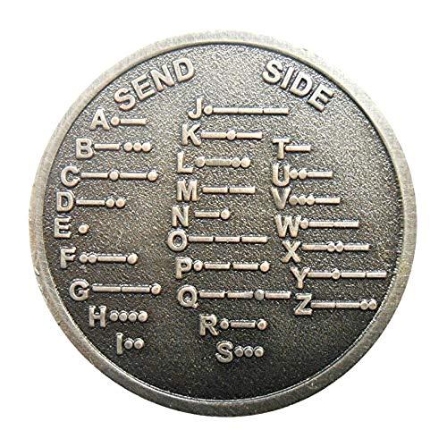 Allwway Paleo níquel Medalla Conmemorativa Gráfico de la Moneda de Metal del Regalo CW Código Morse Decoder