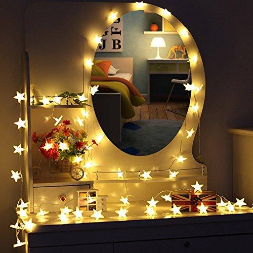 MOVEONSTEP Led Lichterkette 30er Sterne für Party, Garten, Weihnachten, Halloween, Hochzeit, Beleuchtung Deko usw. 4,5M warm weiß [Energieklasse A++]