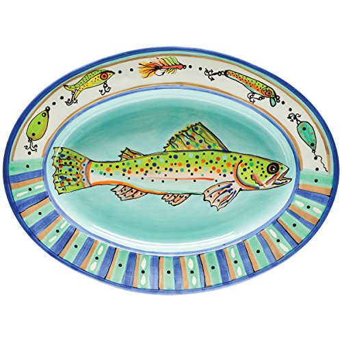 Thompson & Elm Dana Wittmann Collection Ceramic Oval Serving Tray, 19.75 x 14.5-Inches, Speckled Trout