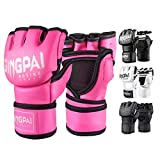 GINGPAI BOXING MMA UFC Gloves for Men Women, Fingerless Punching Heavy Bag with More Paddding Gloves for Kickboxing, Sparring, Muay Thai (Pink-White, M)