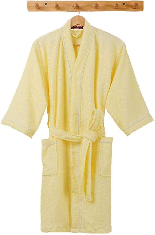 Robes Men's Bathrobe 100% Cotton Terry Towel Shawl Collar Bathrobe Pajamas Nightgown Bathrobe is Perfect for Gym Shower Spa Hotel Vacation-Yellow_M