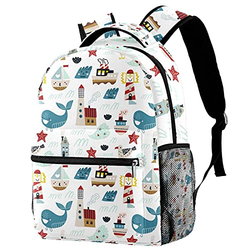 Ocean Whale Lighthouse Personalized School Bag Colourful Children Bookbag Cute Kids Backpack Lightweight Fashion for Boys Girls Teens 11.5x8x16in