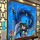 Hwhz Fondo De Pantalla 3D Personalizado 3D Mundo Submarino Delfín Pescado Tropical Fondo De Tv Mural Niños Habitación Dormitorio Acuario Fondo De Pantalla-120X100Cm