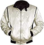 Fashion_First Movie Drive Scorpion Ryan Gosling - Chaqueta de satén para hombre Blanco blanco S
