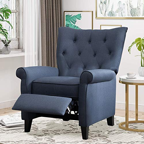 Push Back Recliner Chair, Tufted Fabric Accent Chair, Lazy Boy Arm Chair with Footrest Adjustable Comfy Lounge Gaming Reclining Chair for Living Room Bedroom, Navy -  Bellemave