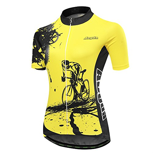 Cycling Jersey Women Aogda Bike Biking Shirts Bicycle Clothing(Yellow, L)