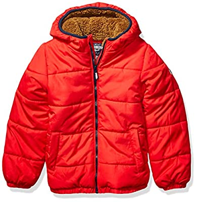 OshKosh B'Gosh Boys' Toddler Heavyweight Winter Jacket with Sherpa Lining, Red Alert, 4T