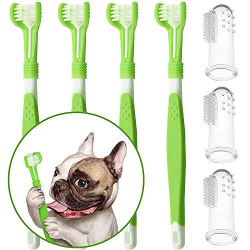 onebarleycorn – 7 cepillos de dientes para perros, cepillo de dientes triple cabeza para perros y dientes de mascotas cepillo limpiador de dientes para perros pequeños a grandes gatos limpieza boca
