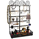Présentoir à Bijoux - (26x40x12cm) Porte-Bijoux en Métal avec 10 Crochets, 80 Trous et Support Rectangulaire - Mural Organisateur De Bijoux pour Colliers, Boucles d'Oreilles (Noir)