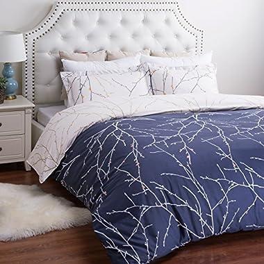 Bedsure Duvet Cover Set with Zipper Closure-Blue/beige Branch Printed Pattern Reversible,King(104 x96 )-3 Piece (1 Duvet Cover + 2 Pillow Shams)-110 gsm Ultra Soft Hypoallergenic Microfiber